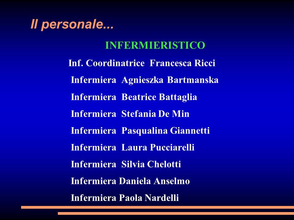 Il personale... INFERMIERISTICO Inf. Coordinatrice Francesca Ricci