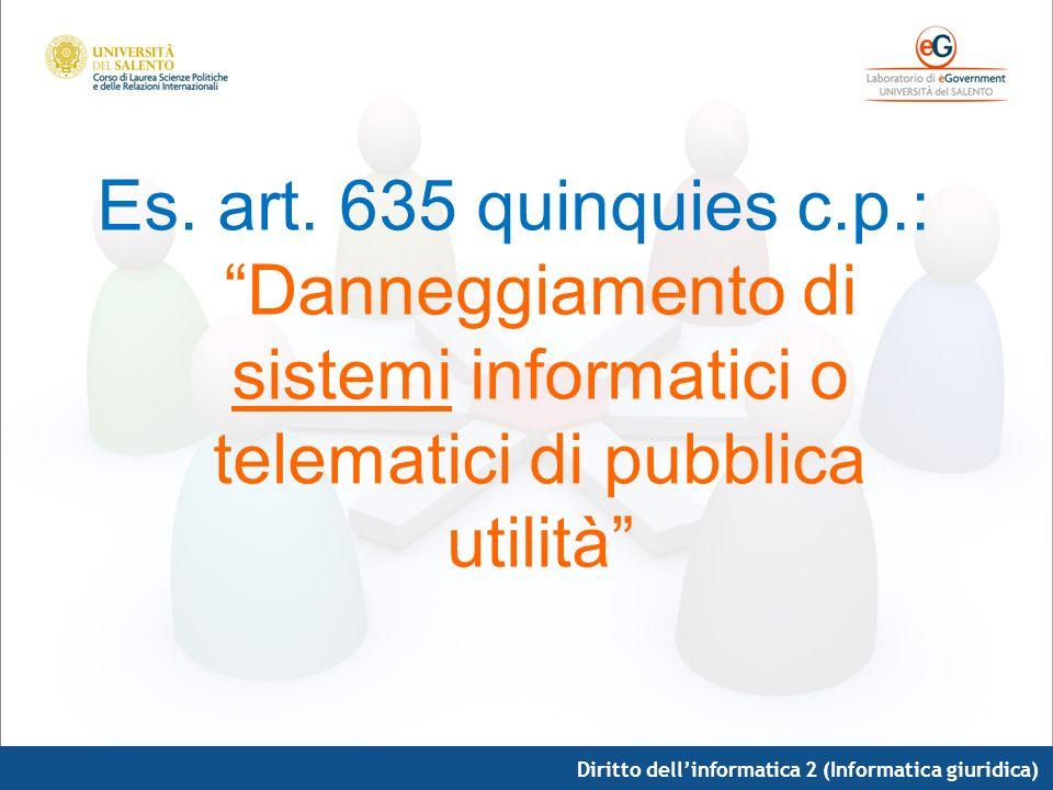 Es. art. 635 quinquies c.p.: Danneggiamento di sistemi informatici o telematici di pubblica utilità