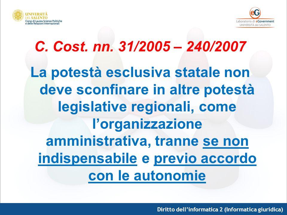 C. Cost. nn. 31/2005 – 240/2007