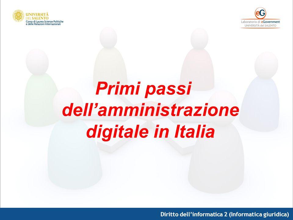 Primi passi dell'amministrazione digitale in Italia