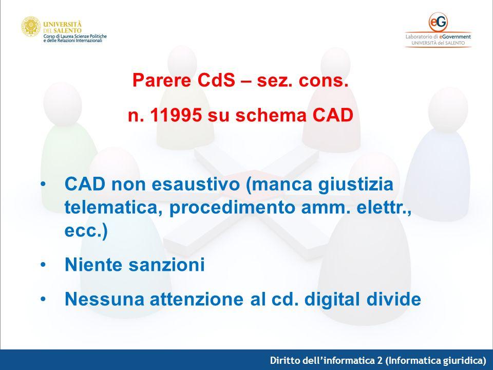 Parere CdS – sez. cons. n. 11995 su schema CAD