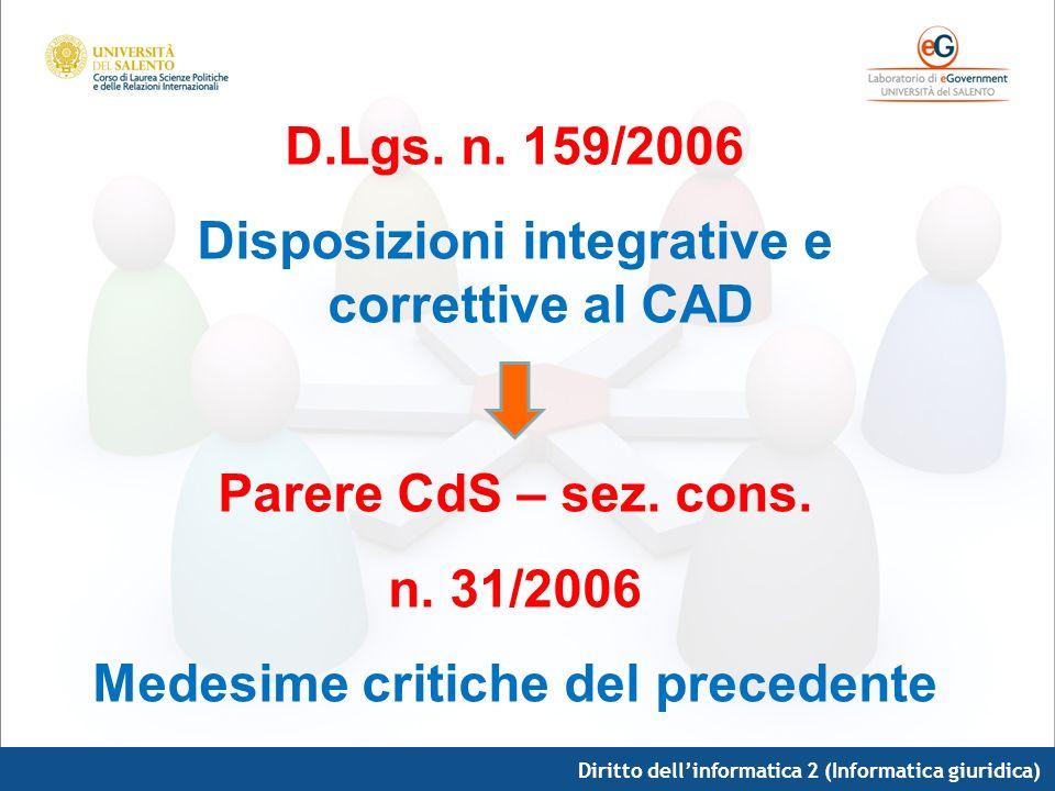 Disposizioni integrative e correttive al CAD