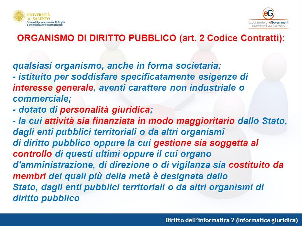 ORGANISMO DI DIRITTO PUBBLICO (art. 2 Codice Contratti):