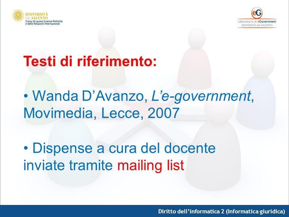 Wanda D'Avanzo, L'e-government, Movimedia, Lecce, 2007