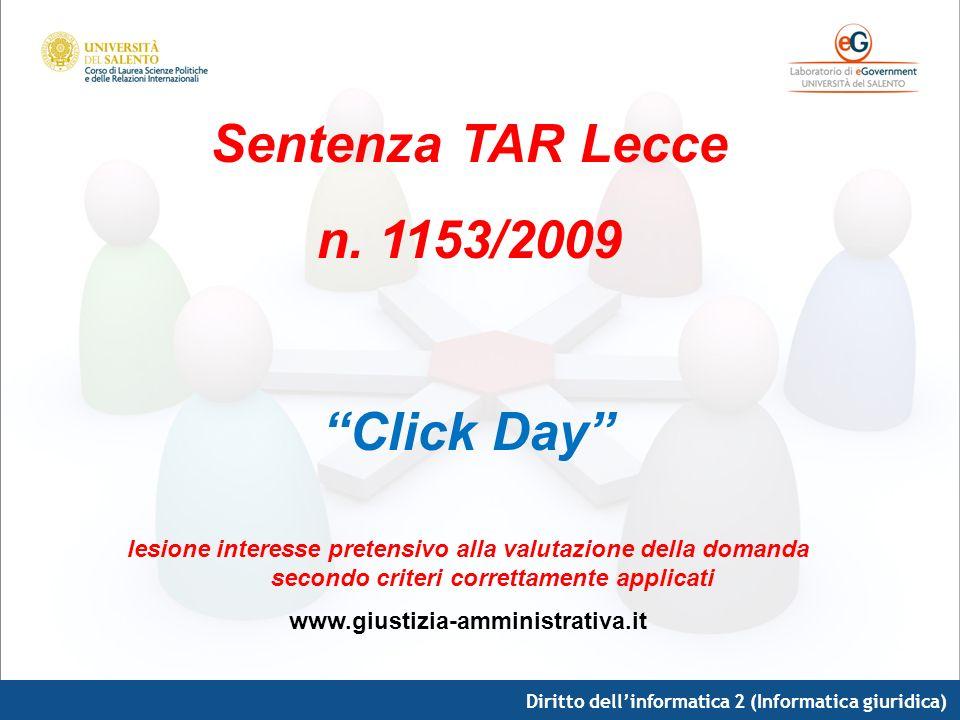 Sentenza TAR Lecce n. 1153/2009 Click Day