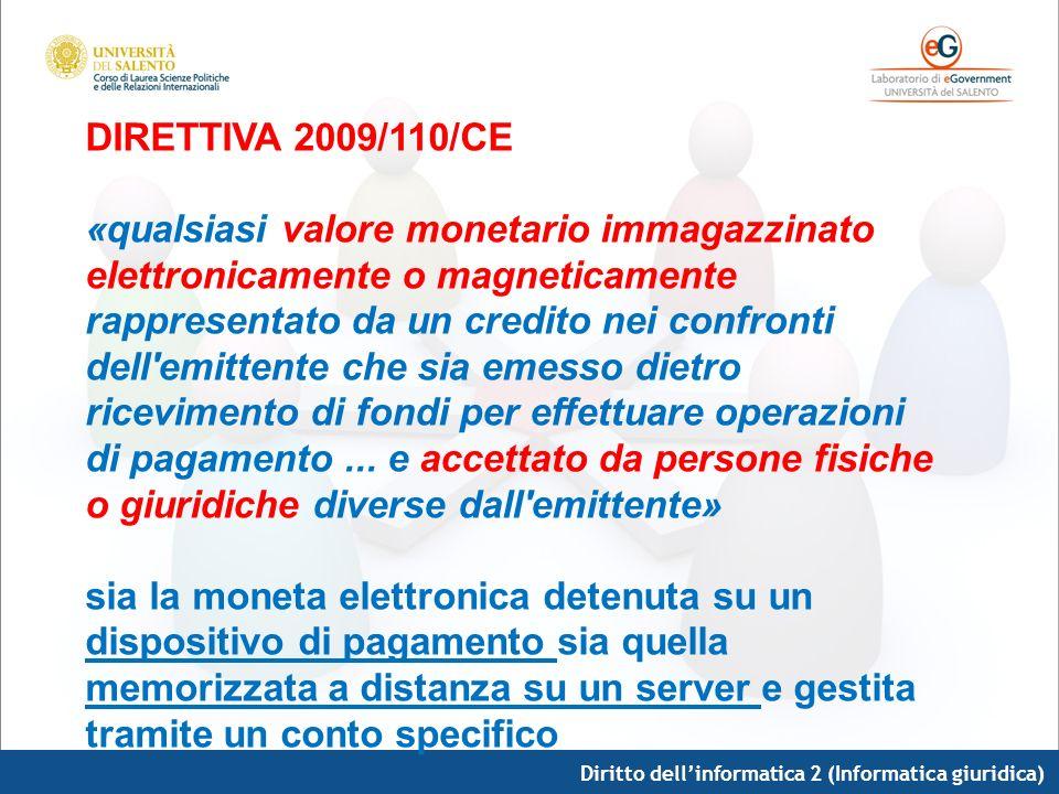DIRETTIVA 2009/110/CE