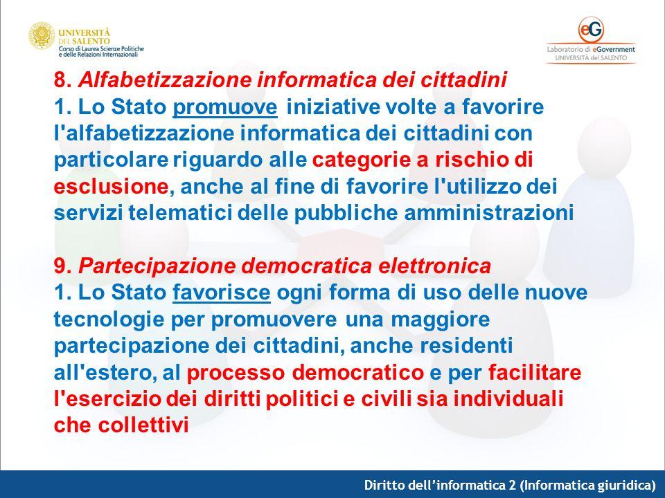 8. Alfabetizzazione informatica dei cittadini