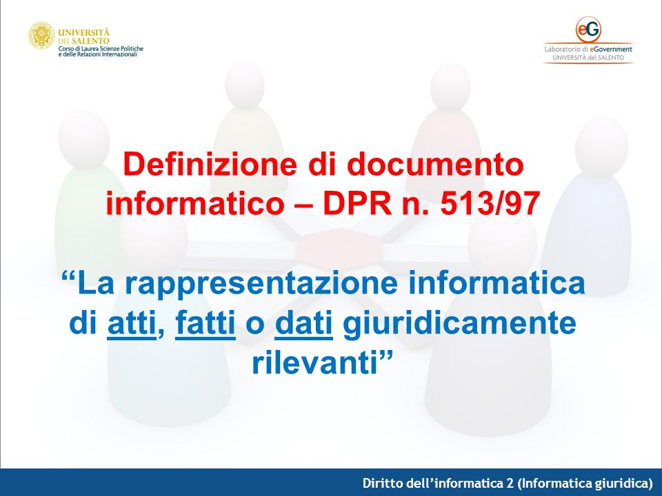 Definizione di documento informatico – DPR n. 513/97