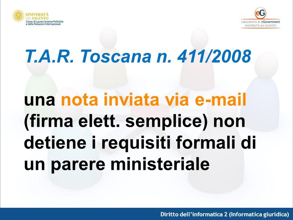 T. A. R. Toscana n. 411/2008 una nota inviata via e-mail (firma elett