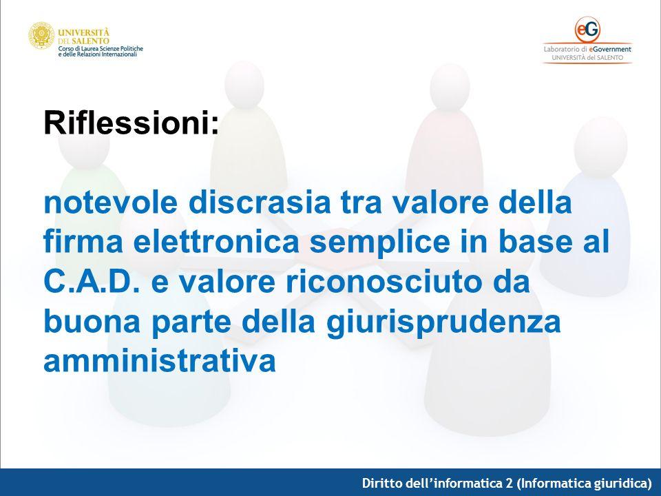 Riflessioni: notevole discrasia tra valore della firma elettronica semplice in base al C.A.D. e valore riconosciuto da buona parte della giurisprudenza amministrativa