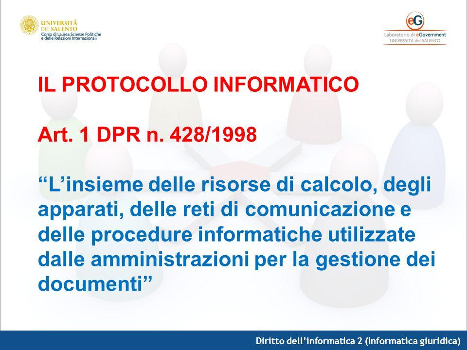 IL PROTOCOLLO INFORMATICO Art. 1 DPR n. 428/1998
