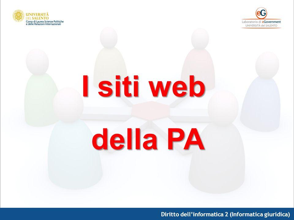 I siti web della PA Diritto dell'informatica 2 (Informatica giuridica)