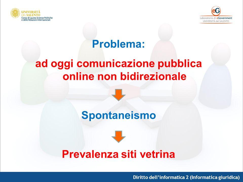 ad oggi comunicazione pubblica online non bidirezionale