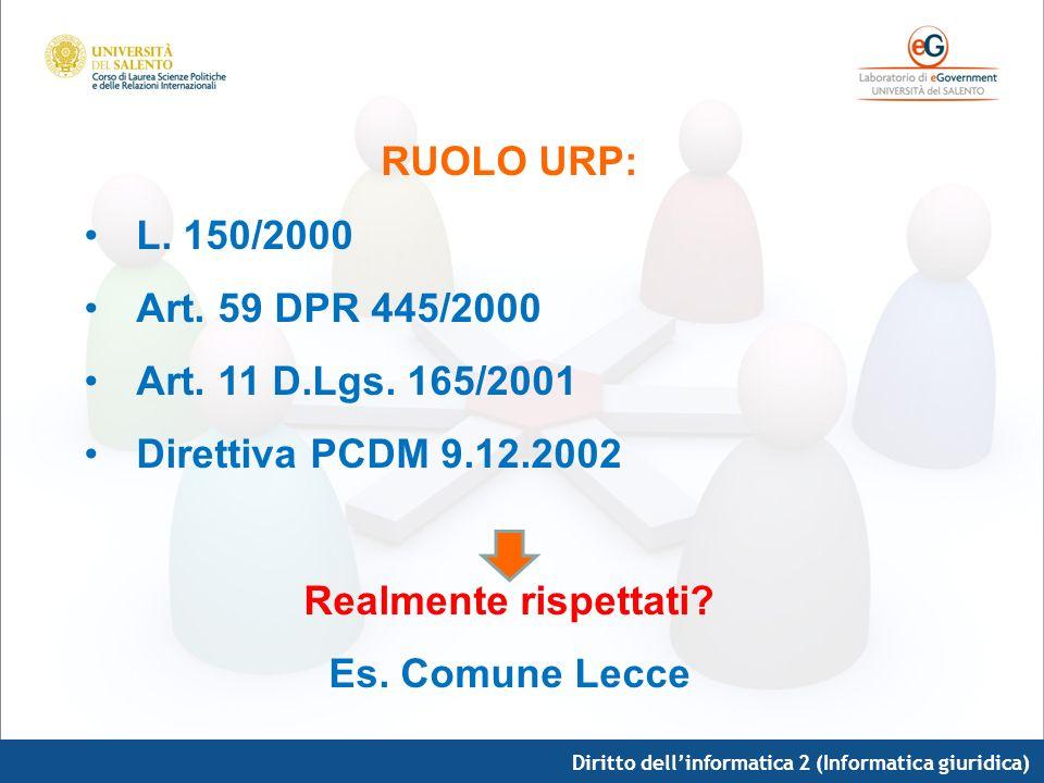 RUOLO URP: Realmente rispettati Es. Comune Lecce