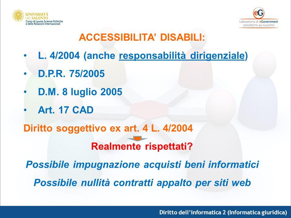 ACCESSIBILITA' DISABILI: L. 4/2004 (anche responsabilità dirigenziale)