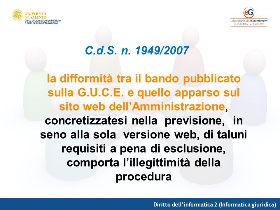 C. d. S. n. 1949/2007 la difformità tra il bando pubblicato sulla G. U