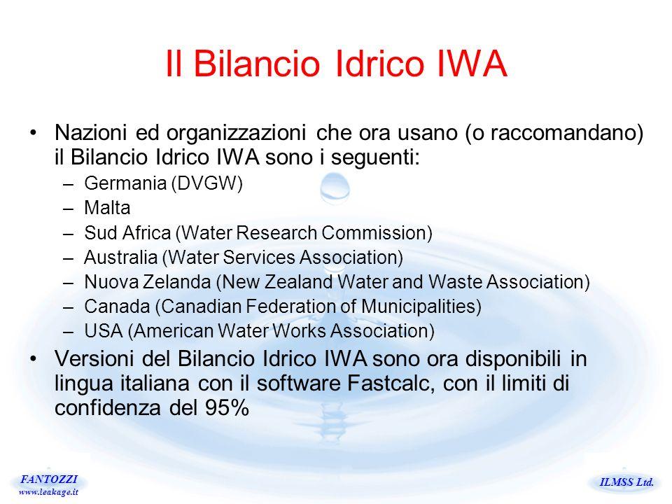 Il Bilancio Idrico IWA Nazioni ed organizzazioni che ora usano (o raccomandano) il Bilancio Idrico IWA sono i seguenti: