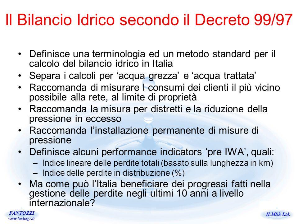 Il Bilancio Idrico secondo il Decreto 99/97
