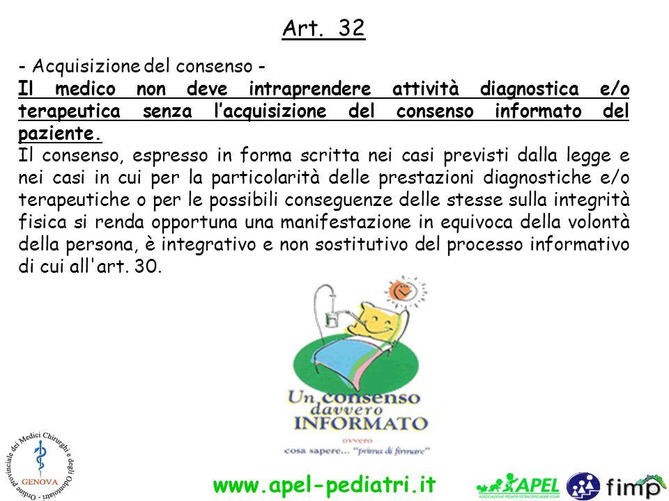 Art. 32 - Acquisizione del consenso -
