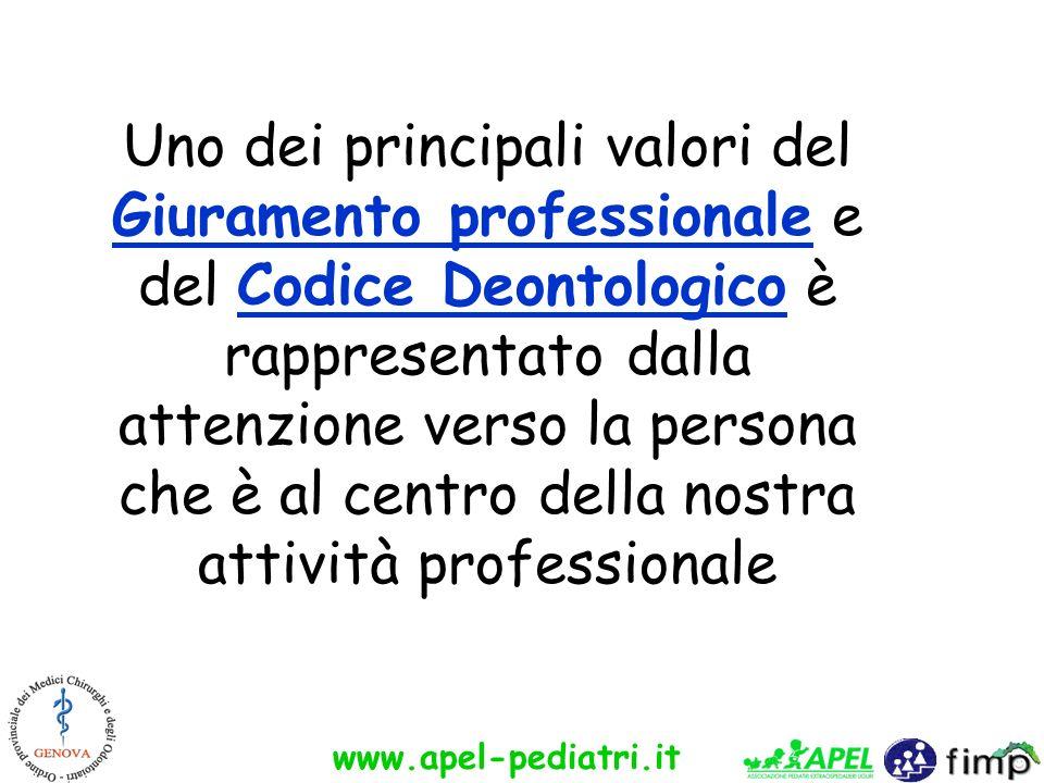 Uno dei principali valori del Giuramento professionale e del Codice Deontologico è rappresentato dalla attenzione verso la persona che è al centro della nostra attività professionale