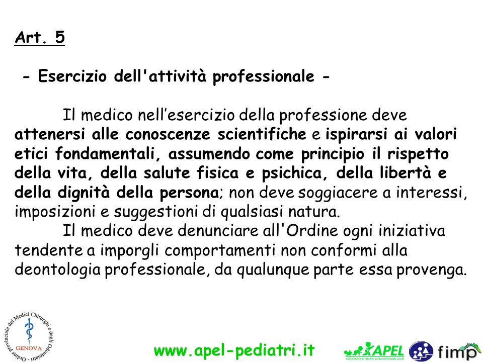 Art. 5 - Esercizio dell attività professionale -