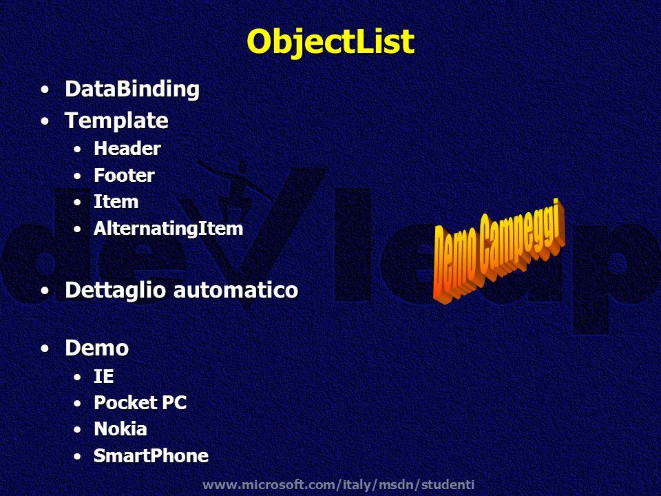 ObjectList Demo Campeggi DataBinding Template Dettaglio automatico