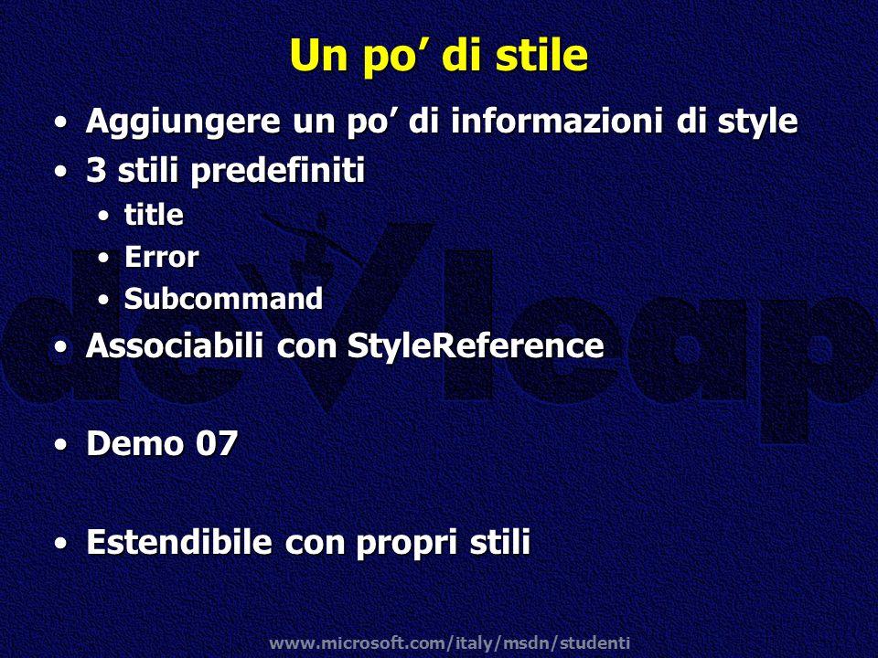 Un po' di stile Aggiungere un po' di informazioni di style