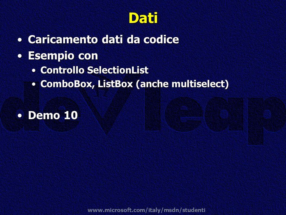 Dati Caricamento dati da codice Esempio con Demo 10