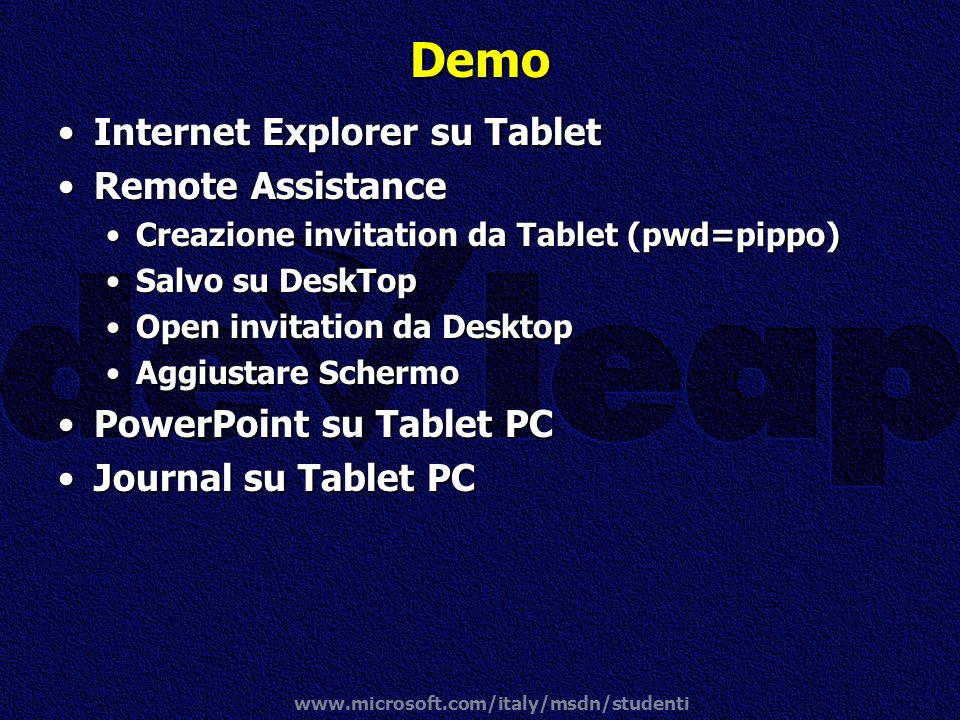 Demo Internet Explorer su Tablet Remote Assistance