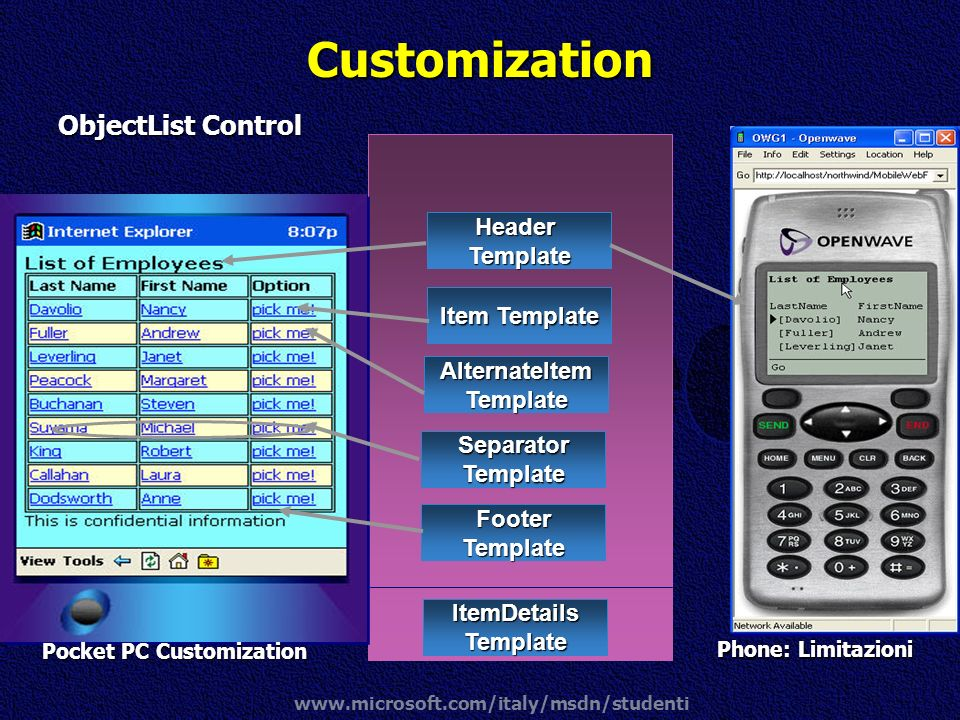 Customization ObjectList Control Header Template Item Template