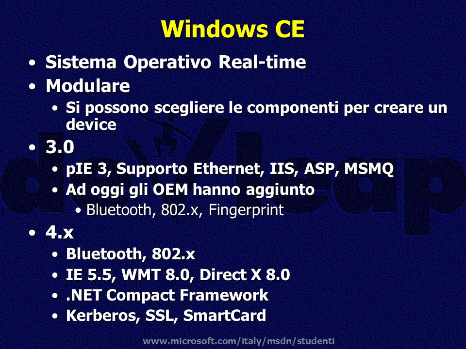Windows CE Sistema Operativo Real-time Modulare x