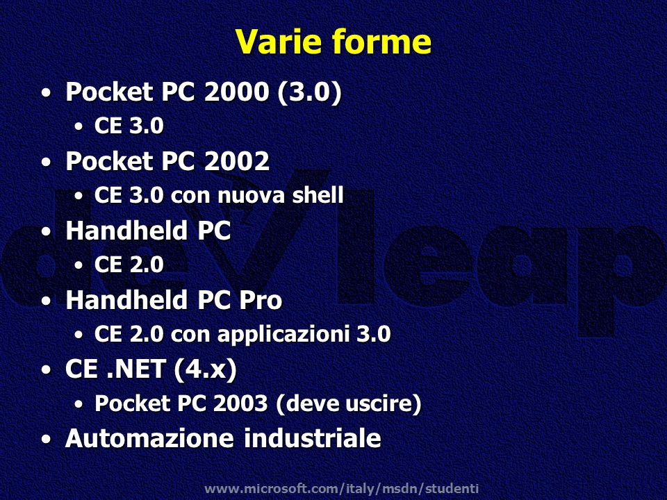 Varie forme Pocket PC 2000 (3.0) Pocket PC 2002 Handheld PC