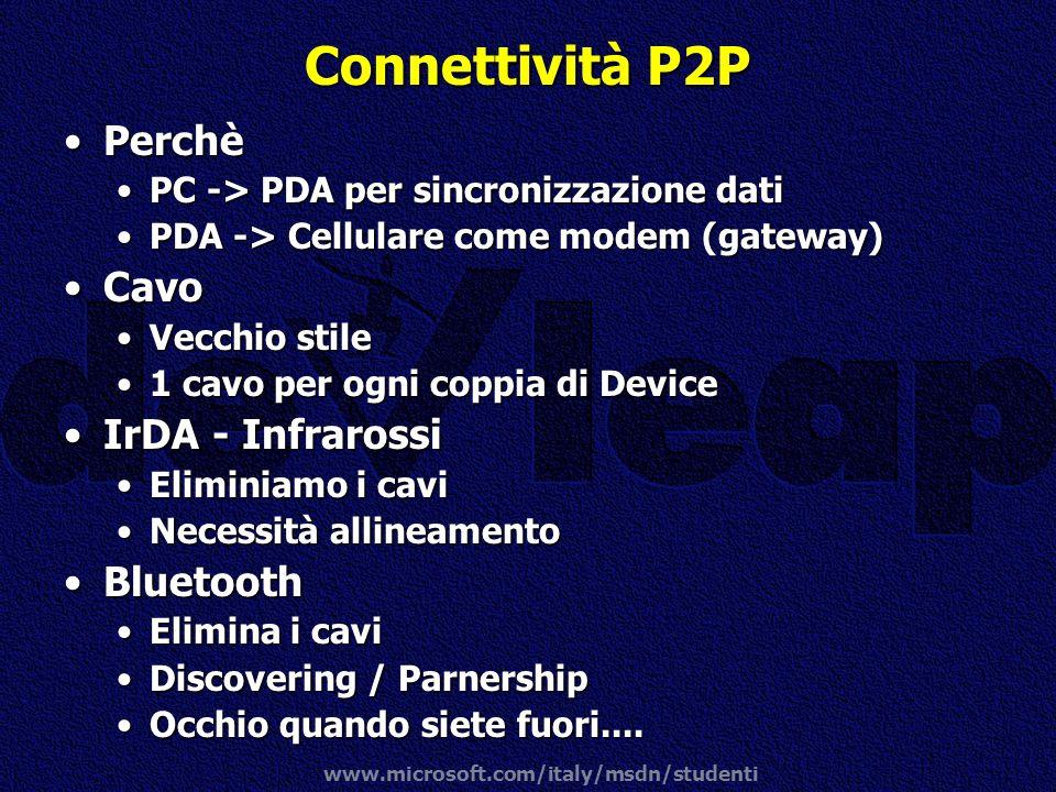 Connettività P2P Perchè Cavo IrDA - Infrarossi Bluetooth
