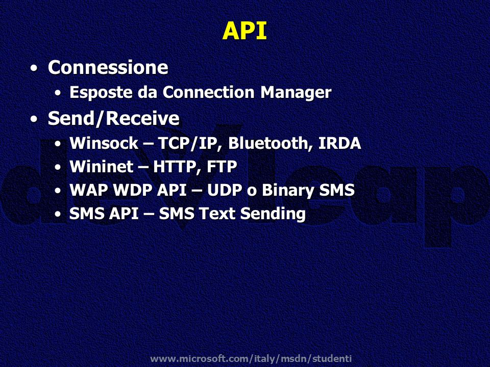API Connessione Send/Receive Esposte da Connection Manager