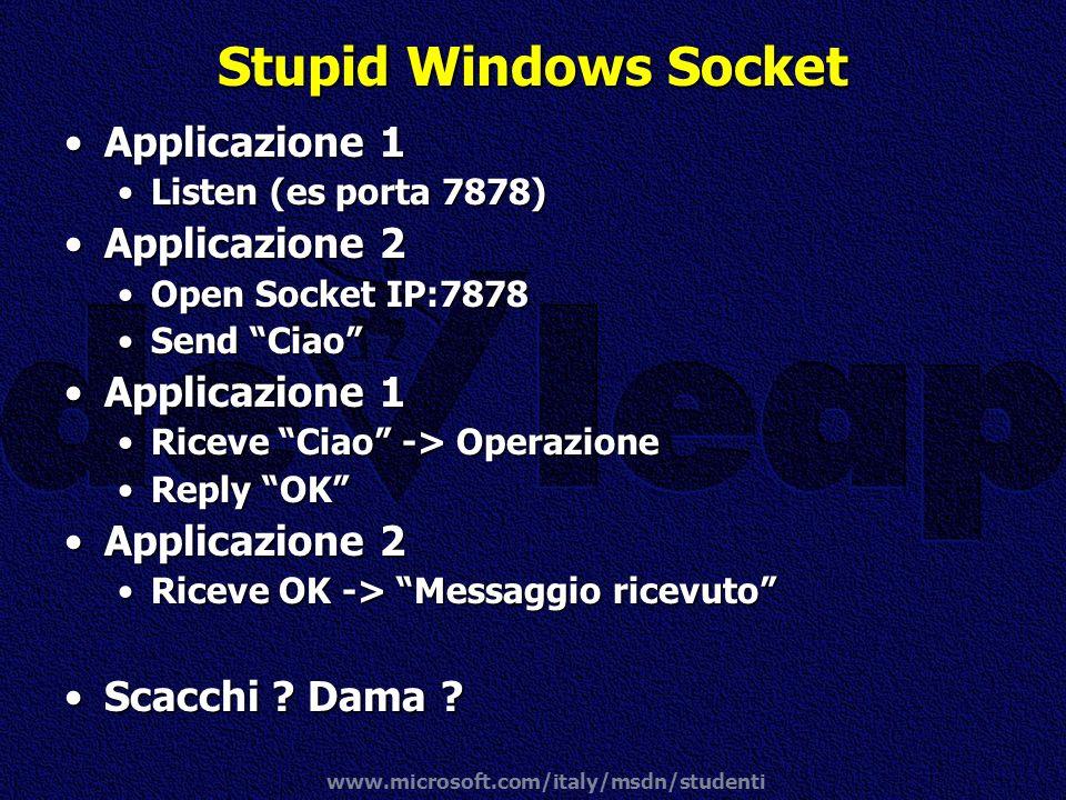 Stupid Windows Socket Applicazione 1 Applicazione 2 Scacchi Dama