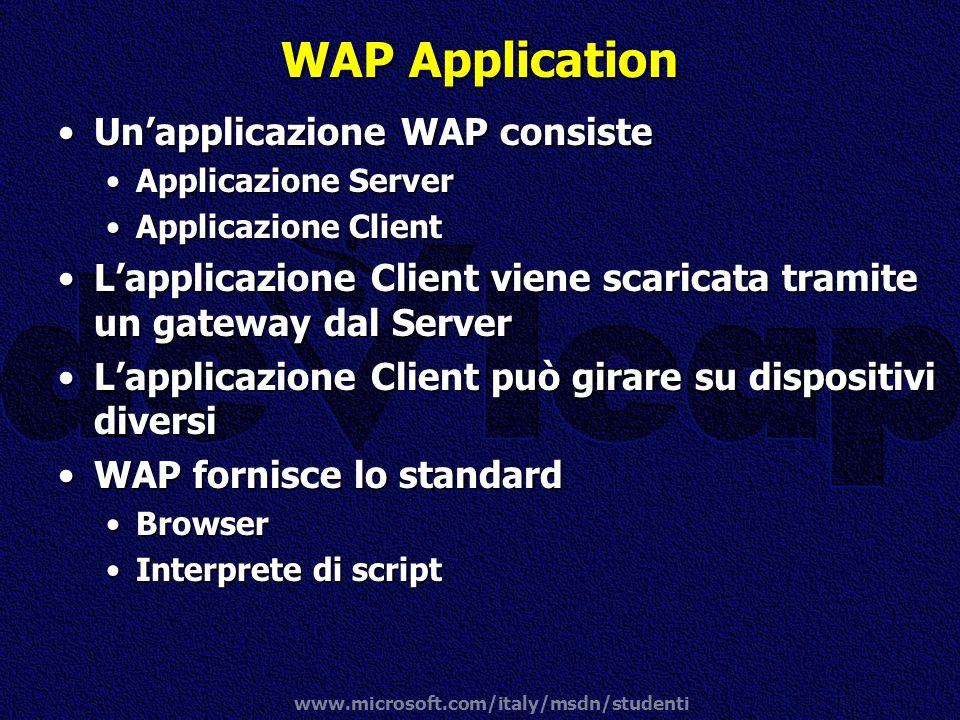 WAP Application Un'applicazione WAP consiste