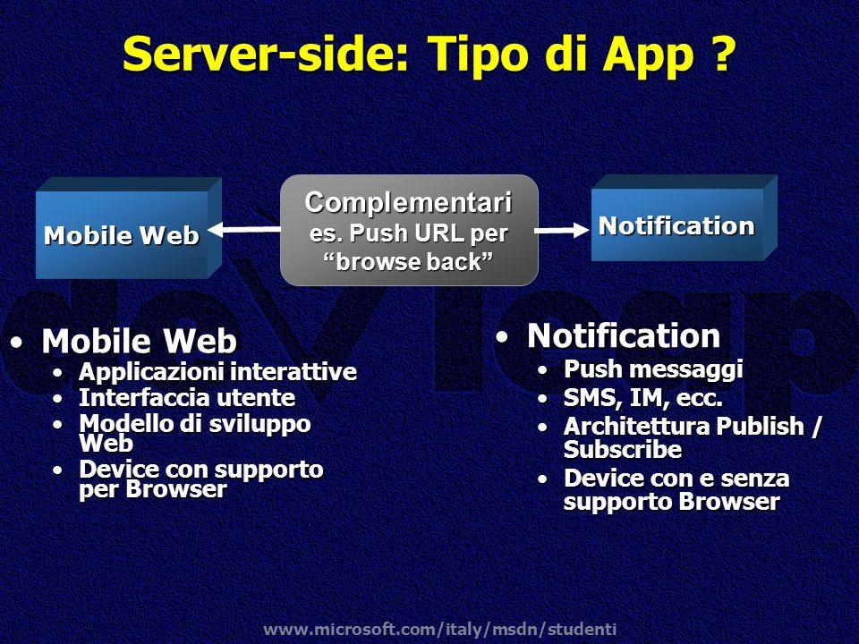 Server-side: Tipo di App