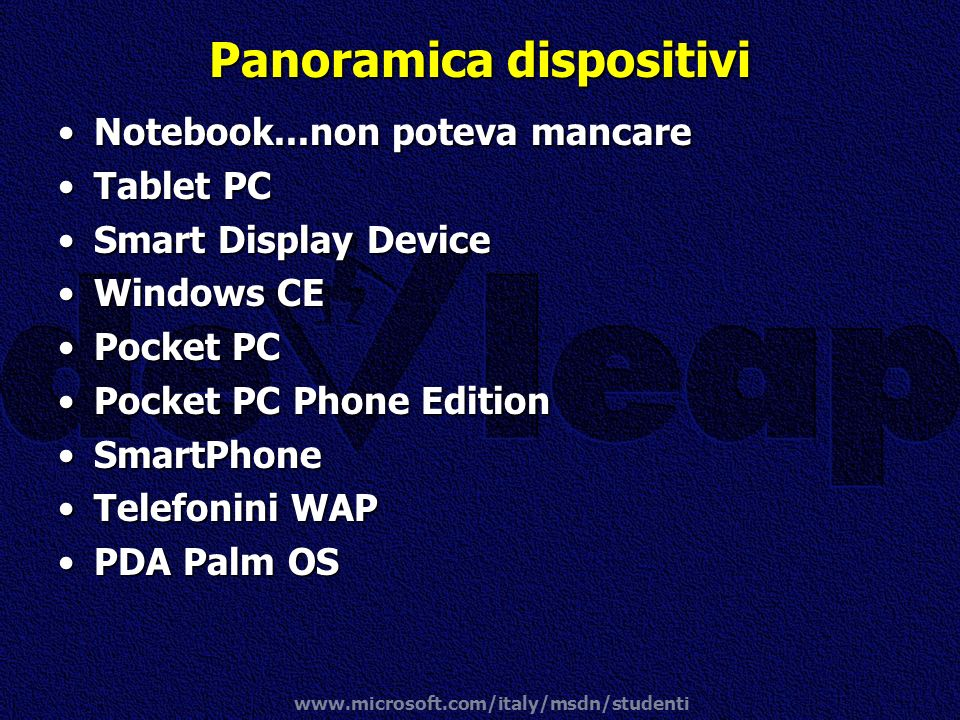 Panoramica dispositivi