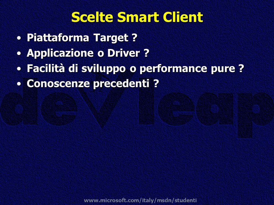 Scelte Smart Client Piattaforma Target Applicazione o Driver