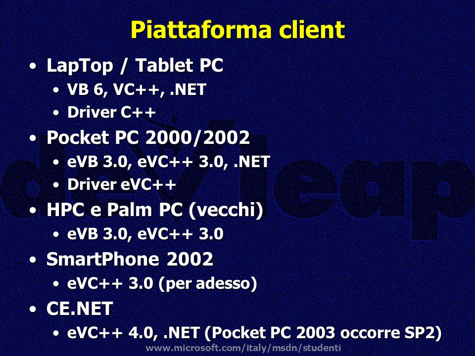Piattaforma client LapTop / Tablet PC Pocket PC 2000/2002