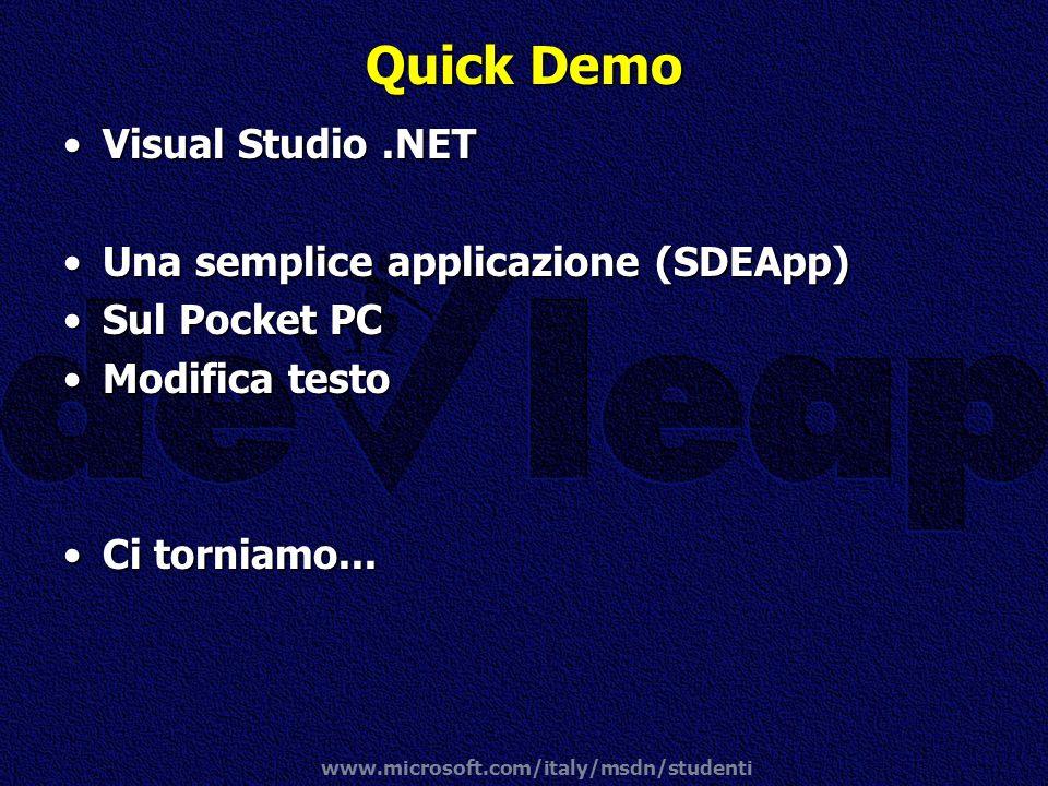 Quick Demo Visual Studio .NET Una semplice applicazione (SDEApp)