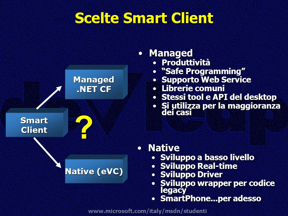 Scelte Smart Client Managed Native Produttività Safe Programming