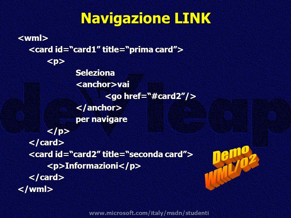 Navigazione LINK Demo WML/02 <wml>