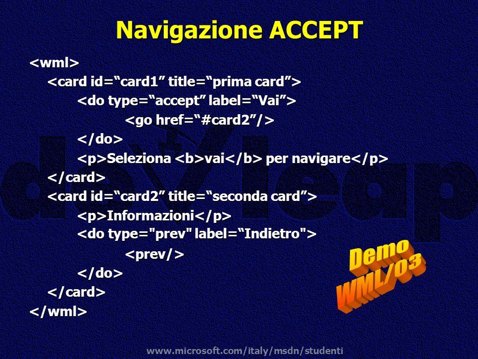 Navigazione ACCEPT Demo WML/03 <wml>