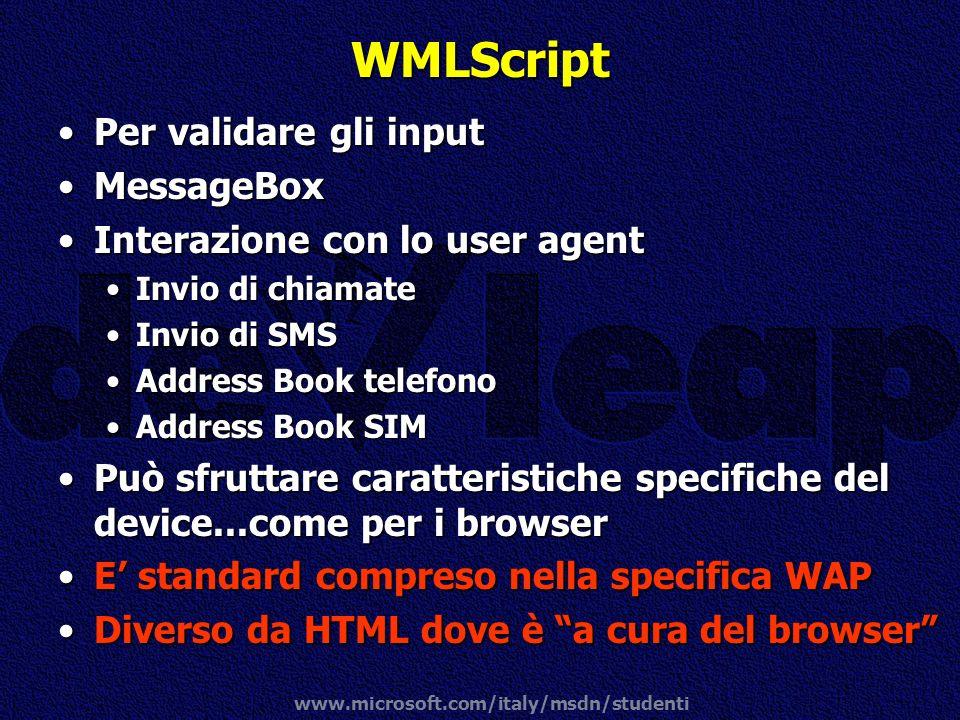WMLScript Per validare gli input MessageBox