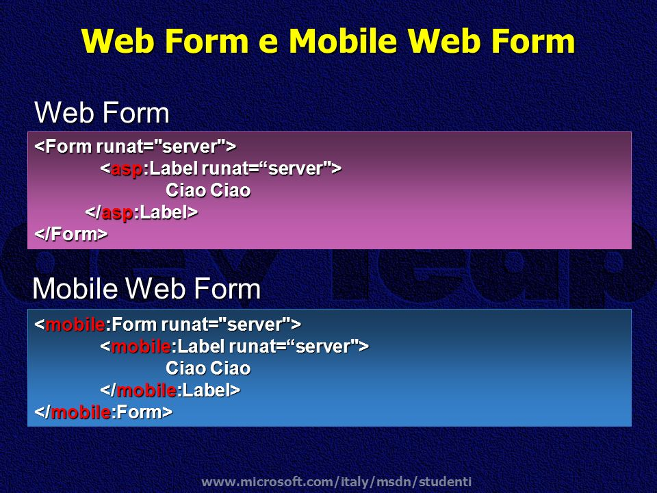 Web Form e Mobile Web Form