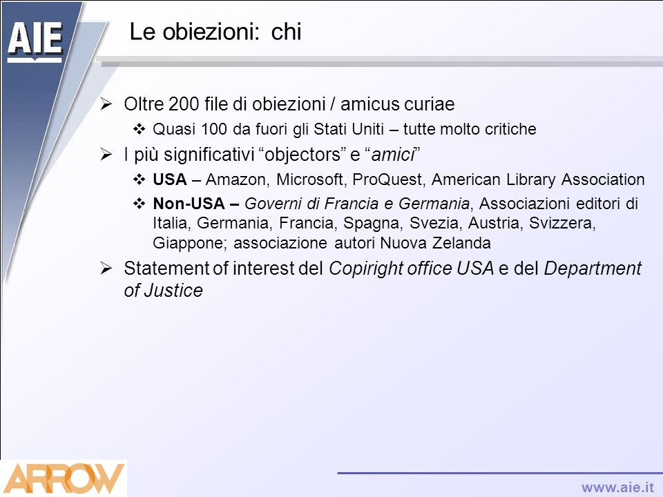 Le obiezioni: chi Oltre 200 file di obiezioni / amicus curiae