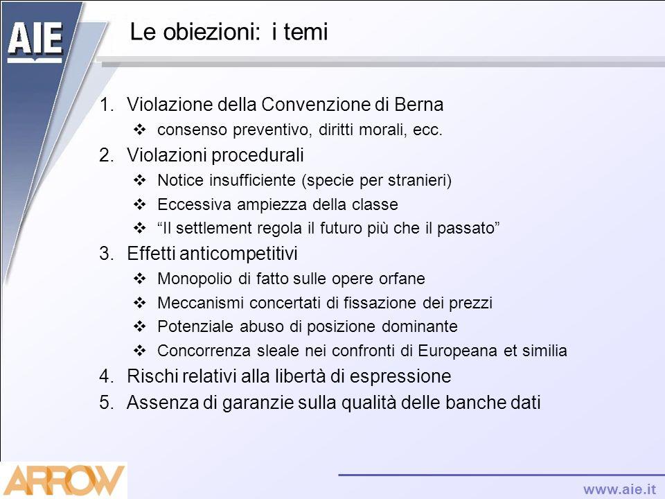 Le obiezioni: i temi Violazione della Convenzione di Berna