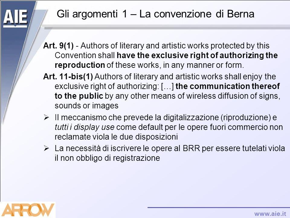 Gli argomenti 1 – La convenzione di Berna