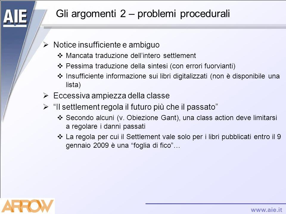 Gli argomenti 2 – problemi procedurali